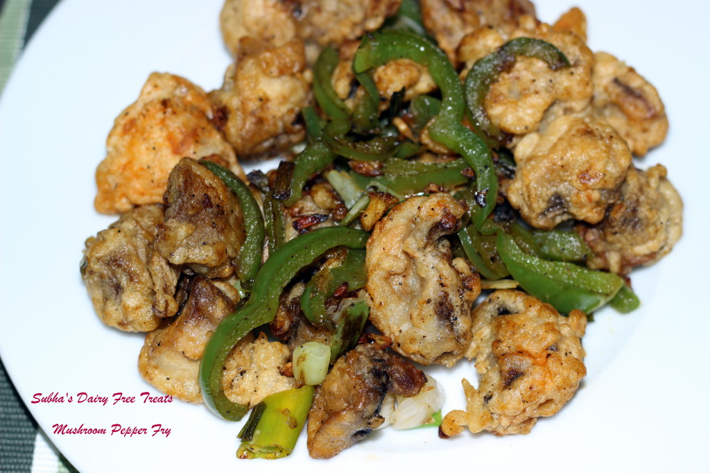 Mushroom Pepper Fry | Subha's Dairy Free Treats