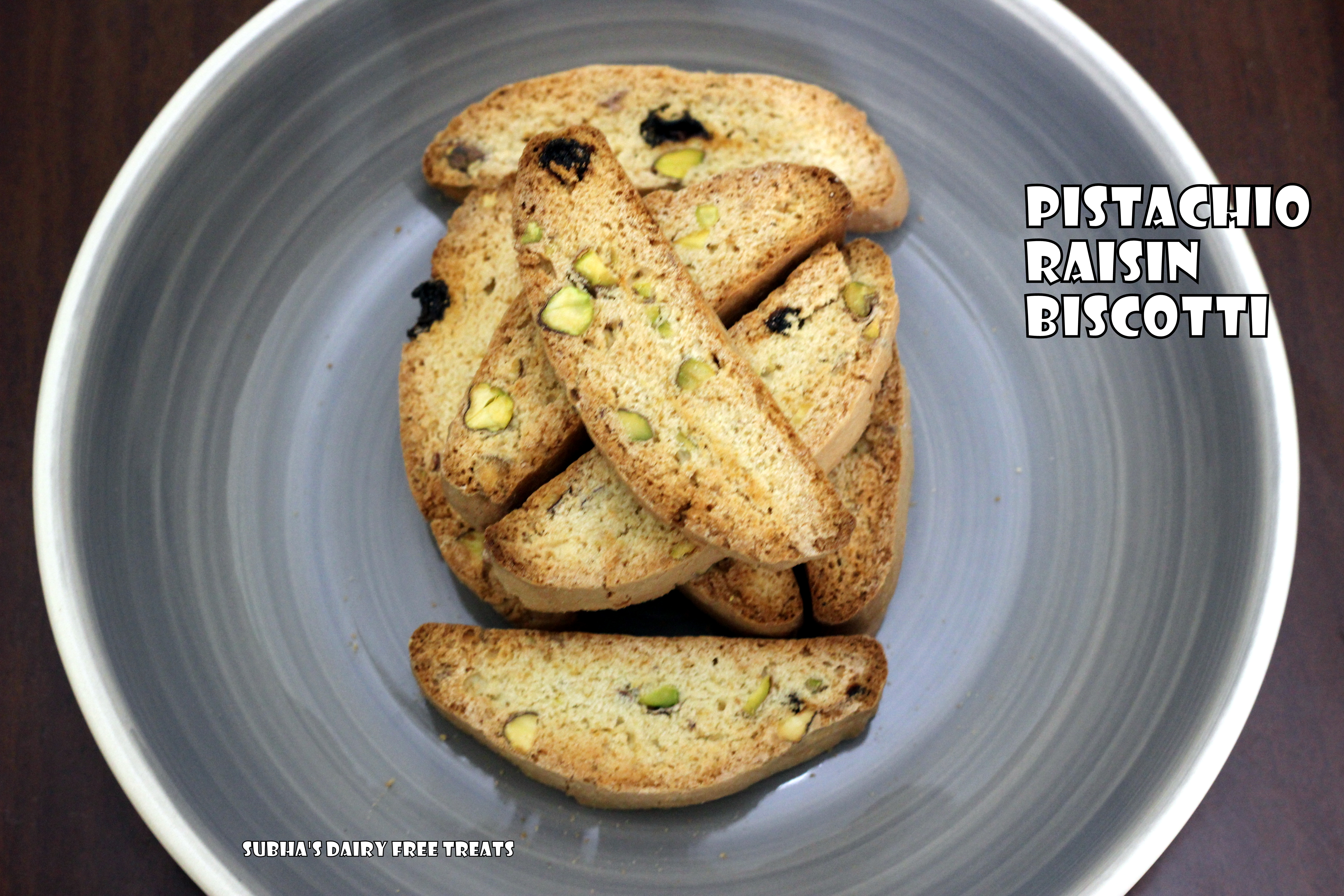 Pistachio - Raisin Biscotti | Subha's Dairy Free Treats