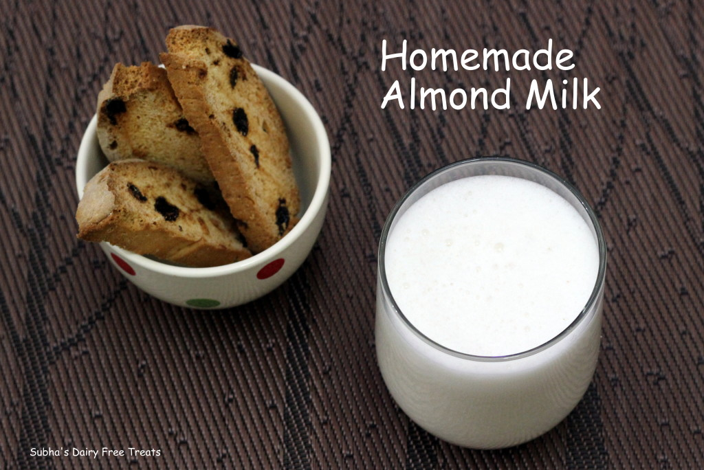 Homemade Almond Milk   Subha's Dairy Free Treats